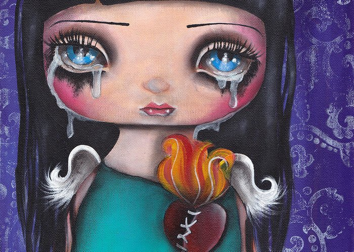 Angel Greeting Card featuring the painting Wash Away My Tears by Abril Andrade Griffith