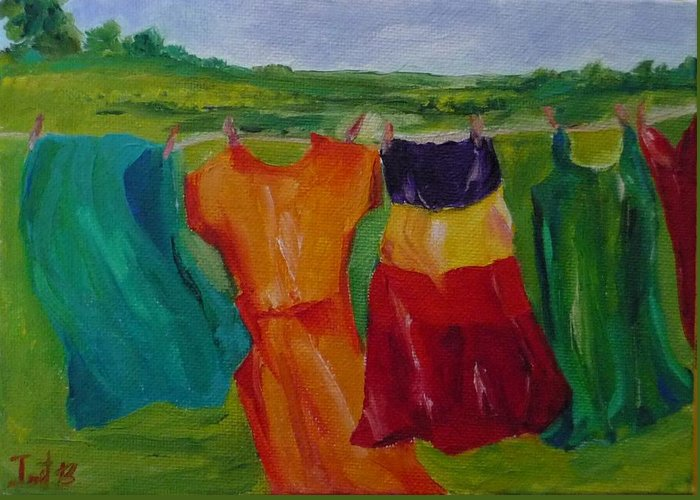Wash Clothes Dance Greeting Card featuring the painting Wash Dance by Irit Bourla
