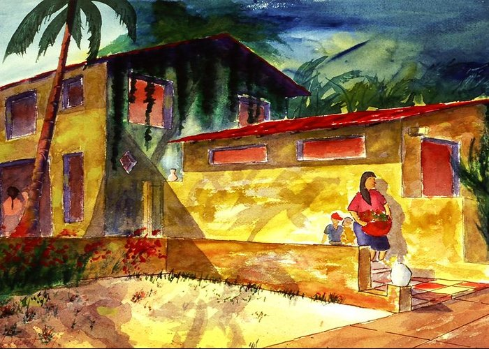 Mexico Greeting Card featuring the painting Washer Women by Buster Dight