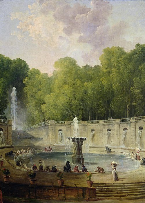 Washerwomen Greeting Card featuring the painting Washerwomen In A Park by Hubert Robert