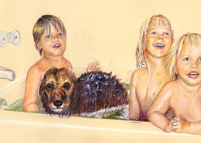 Children Greeting Card featuring the pastel Washing The Dog by Olga Kaczmar