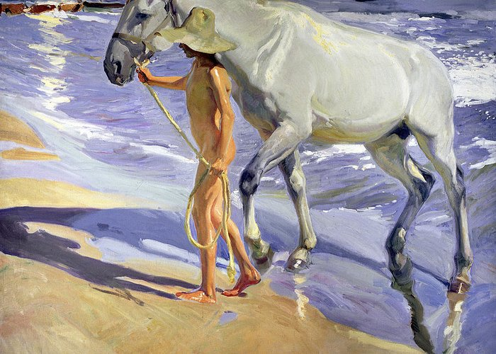 Washing The Horse Greeting Card featuring the painting Washing The Horse by Joaquin Sorolla y Bastida