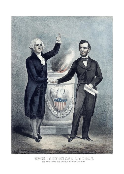 Abraham Lincoln Greeting Card featuring the painting Washington And Lincoln by War Is Hell Store