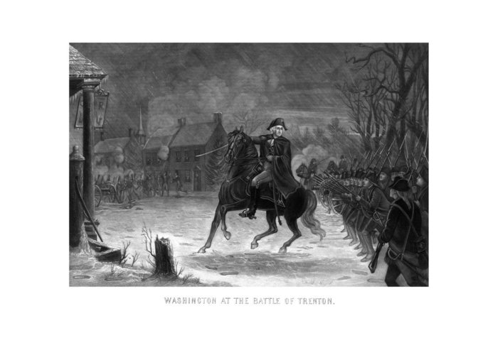 George Washington Greeting Card featuring the painting Washington At The Battle Of Trenton by War Is Hell Store