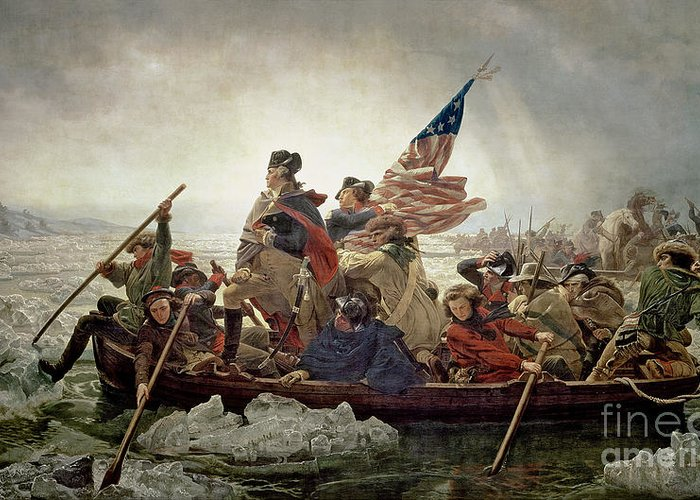 Washington Greeting Card featuring the painting Washington Crossing The Delaware River by Emanuel Gottlieb Leutze