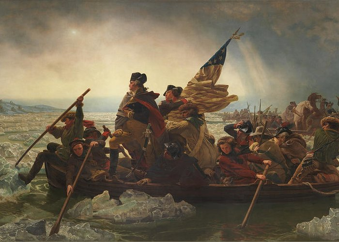 George Washington Greeting Card featuring the painting Washington Crossing The Delaware by War Is Hell Store