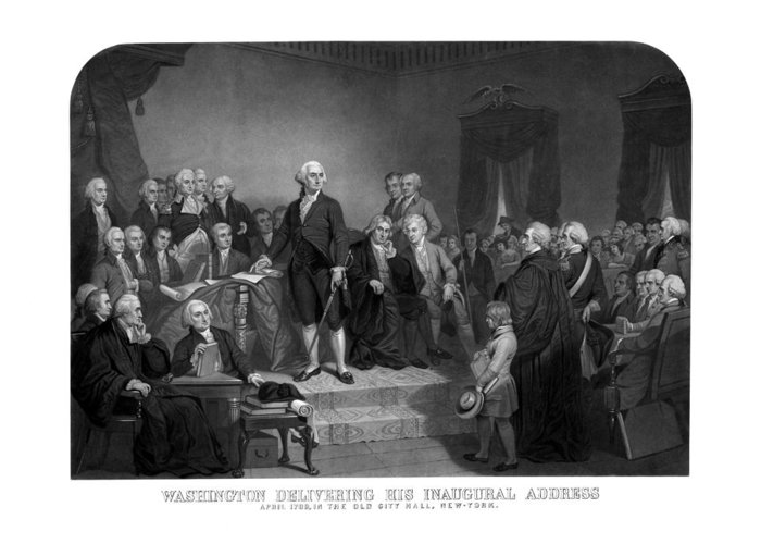 George Washington Greeting Card featuring the drawing Washington Delivering His Inaugural Address by War Is Hell Store