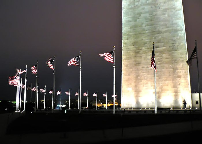 America Greeting Card featuring the photograph Washington Monument At Night by Artistic Photos