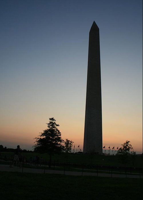Washington Dc Greeting Card featuring the photograph Washington Monument At Sunset by Aimee Galicia Torres