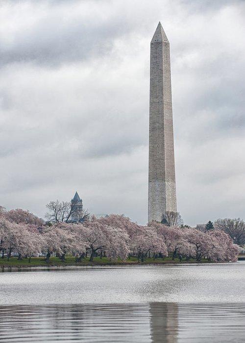 Washington D.c. Photographs Greeting Card featuring the photograph Washington Monument During Cherry Blossom Festival by Sebastian Musial