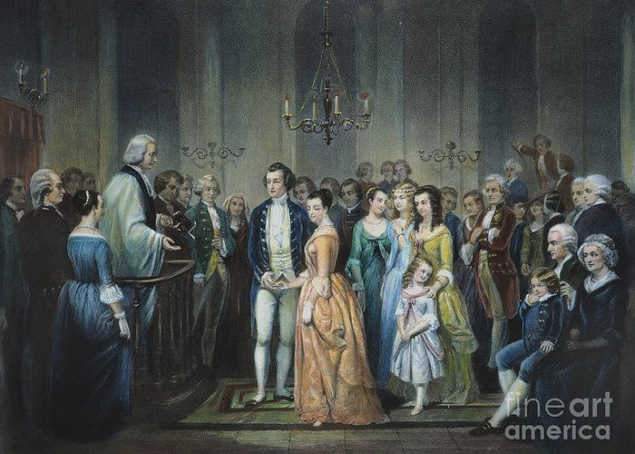 1759 Greeting Card featuring the photograph Washingtons Marriage by Granger
