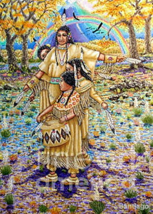 Indian Girls Greeting Card featuring the painting Washoe Maidens by Santiago Chavez