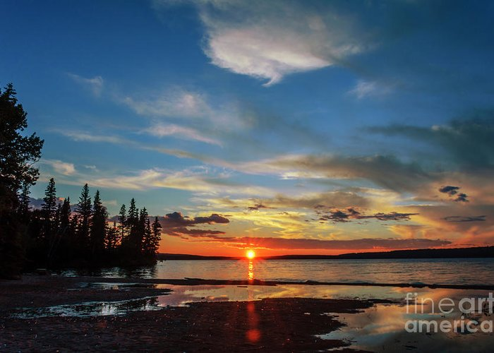 Landscape Greeting Card featuring the photograph A Delightful Summer Sunset On Lake Waskesiu In Canada by Viktor Birkus