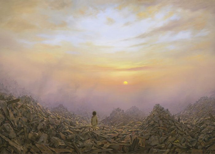 Landscape Greeting Card featuring the painting Wasteland by Brian McCarthy