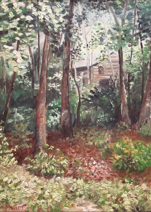 Landscape Greeting Card featuring the painting Watauga Cabin by Scott Plaster