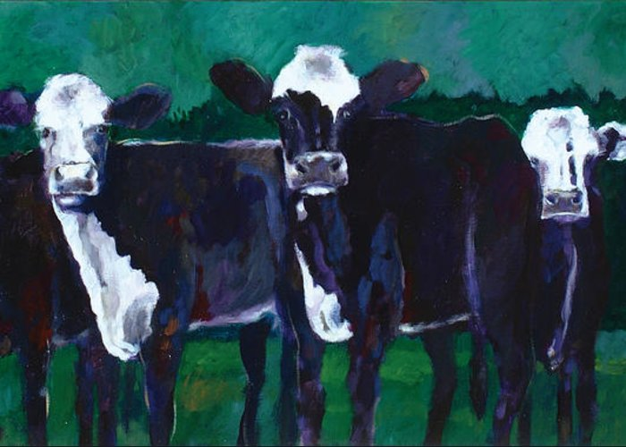 Animals Greeting Card featuring the painting Watchers From The Green by Ron Patterson