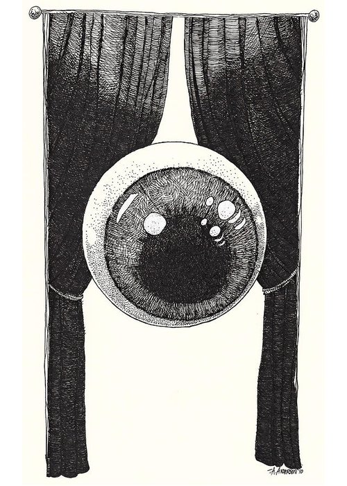Illustration Greeting Card featuring the drawing Watchful by Tobey Anderson