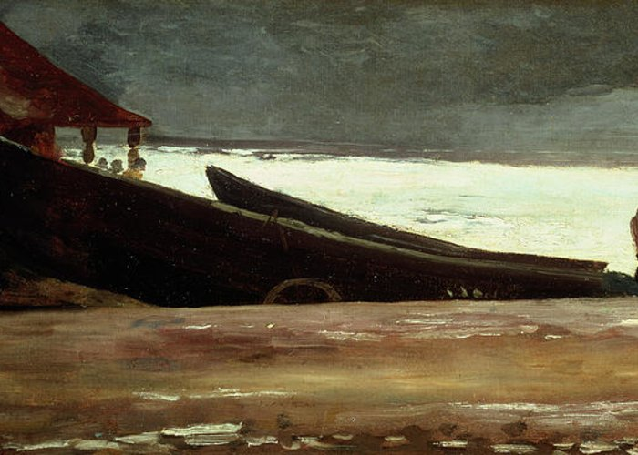 Boat Greeting Card featuring the painting Watching A Storm On The English Coast by Winslow Homer
