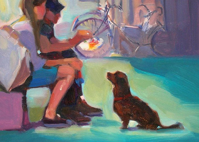 Dog Greeting Card featuring the painting Watching And Waiting by Merle Keller