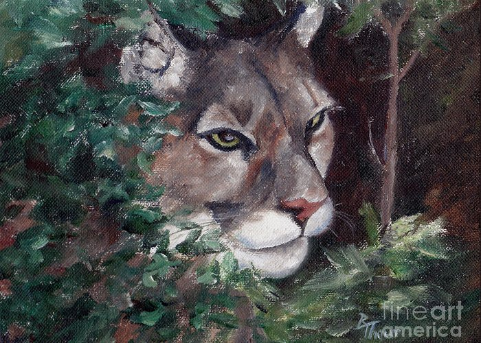 Cougar Greeting Card featuring the painting Watching by Brenda Thour