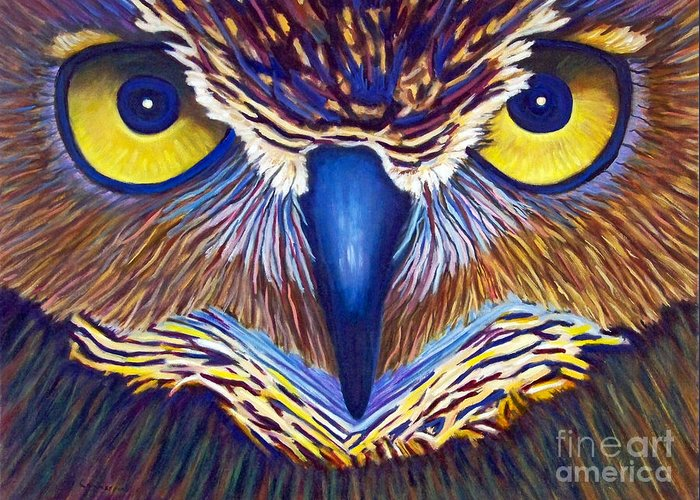Owl Greeting Card featuring the painting Watching by Brian Commerford