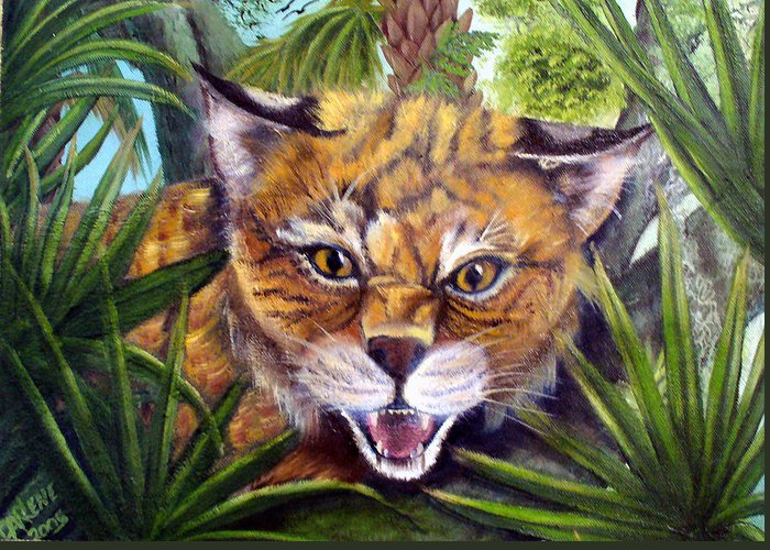 Bobcat Greeting Card featuring the painting Watching Florida Bobcat by Darlene Green