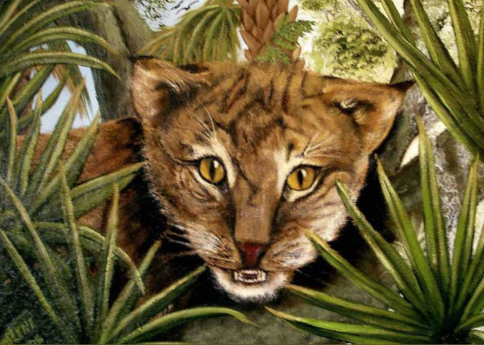 Bobcat Greeting Card featuring the painting Watching Floridabobcat by Darlene Green