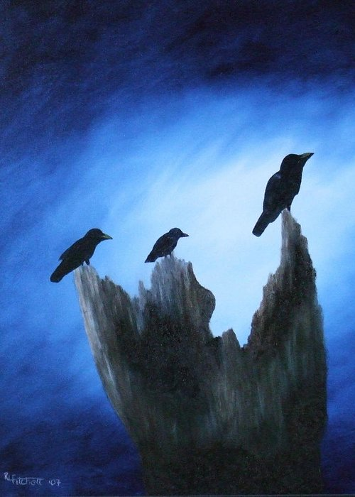 Birds Greeting Card featuring the painting Watching For Company by Rebecca Fitchett