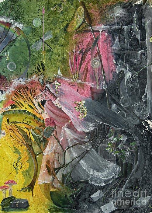 Princess/bride Greeting Card featuring the painting Watching by Jackie Mueller-Jones