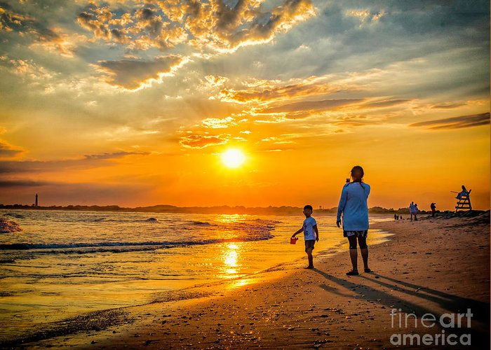 Sunset Greeting Card featuring the photograph Watching The Sunset by Nick Zelinsky