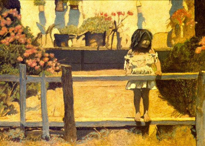Girl Greeting Card featuring the painting Watching Trains by Robert Bissett