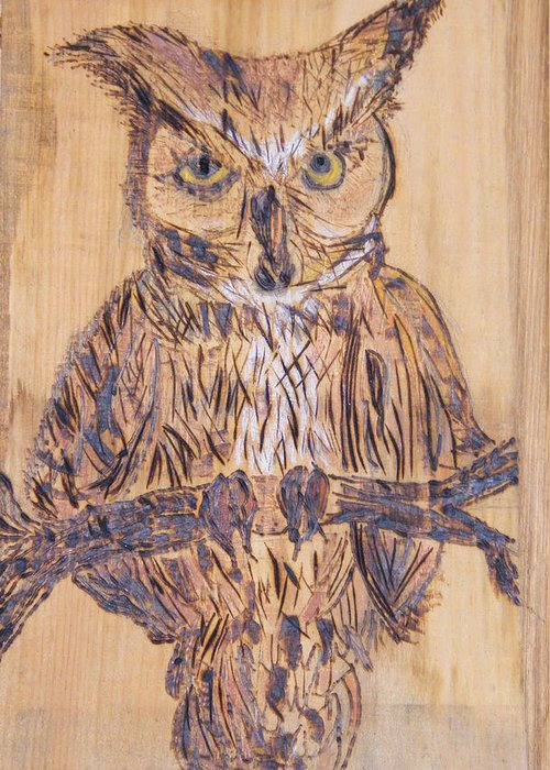 Owls Woodburns Nature Greeting Card featuring the pyrography Watching You by Margaret G Calenda