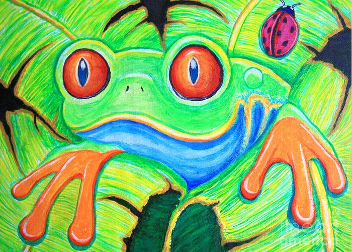Frog Greeting Card featuring the painting Watching You Red Eyed Tree Frog by Nick Gustafson