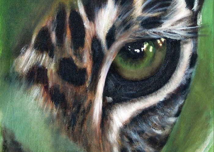 Animals Greeting Card featuring the painting Watching you watching me by Fiona Jack