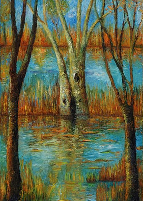 Landscape Greeting Card featuring the painting Water - Left Part Of Triptych. by Evgenia Davidov