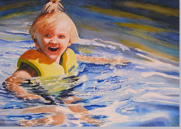 Swimming Greeting Card featuring the painting Water Baby by Karen Stark