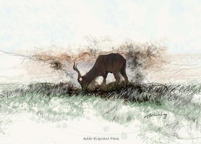 Wildlife In The Landscape Greeting Card featuring the painting water buck in Addo Park S.A. by Ronald Rosenberg