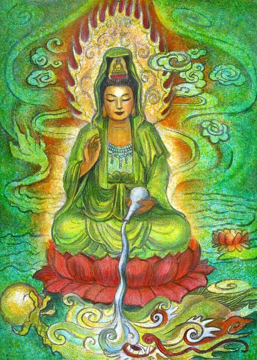 Kuan Yin Greeting Card featuring the painting Water Dragon Kuan Yin by Sue Halstenberg