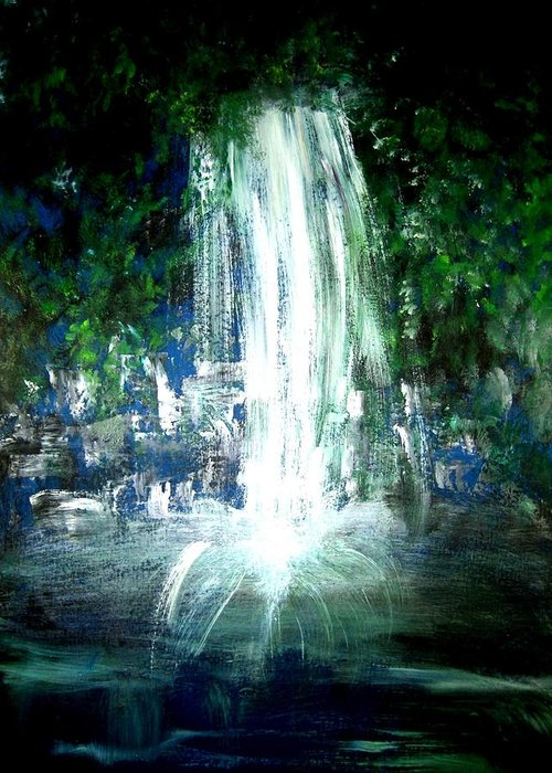 Waterfall Greeting Card featuring the painting Water Falling by Michela Akers