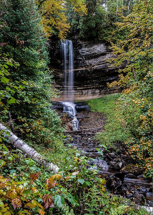 Waterfalls Greeting Card featuring the photograph Water Falls In Autumn by Randy Gebhardt