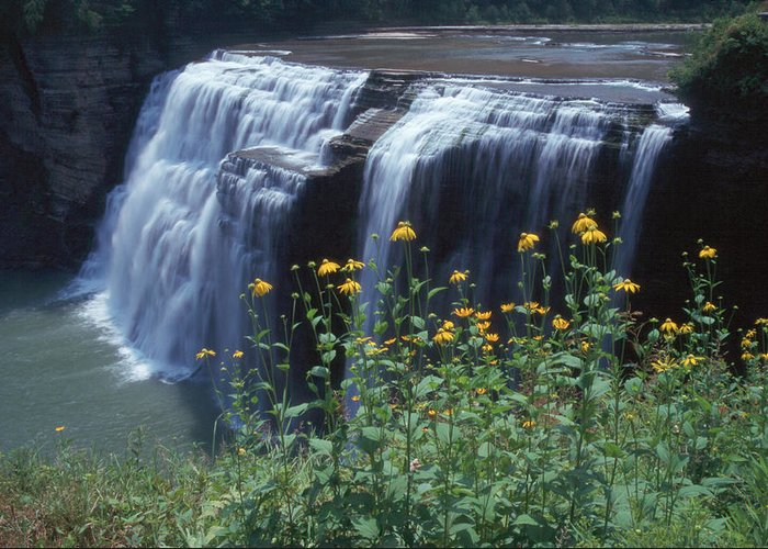 Waterfalls Greeting Card featuring the photograph Water Falls by Raju Alagawadi