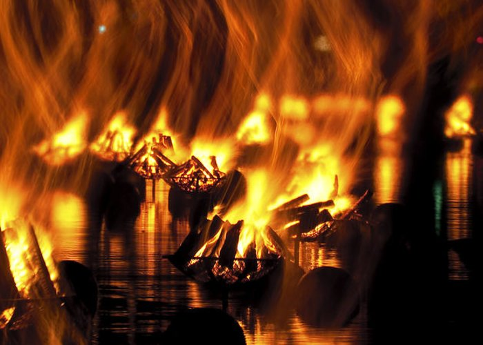 Fire Greeting Card featuring the photograph Water Fire by Ryan Heffron