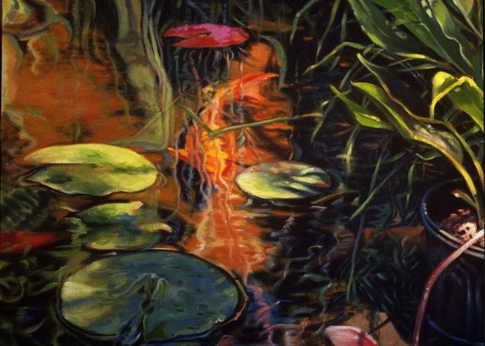 Water Garden Greeting Card featuring the painting Water Garden Series A by Patricia Reed