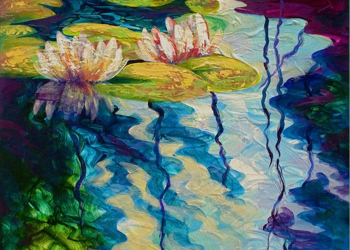 Water Lily Greeting Card featuring the painting Water Lilies I by Marion Rose