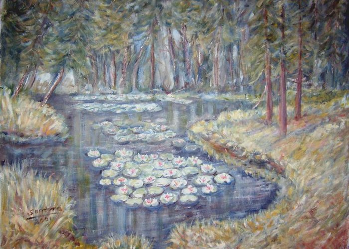 Landscape Greeting Card featuring the painting Water Lilies by Joseph Sandora Jr