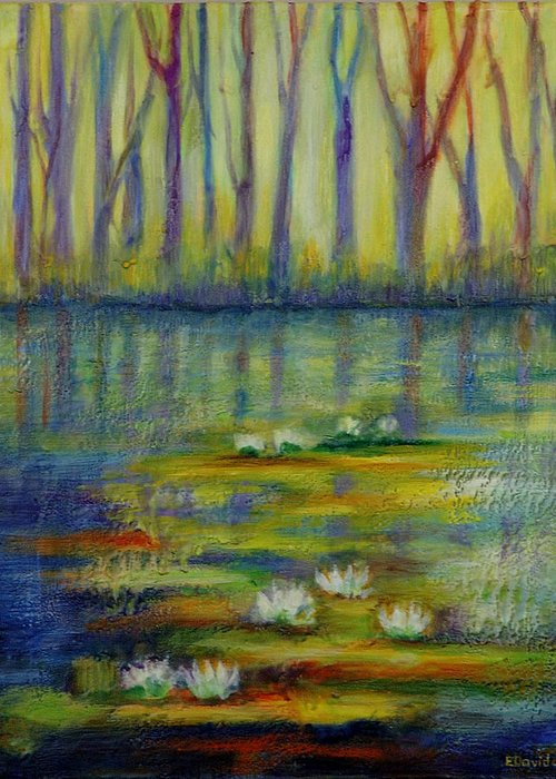 Water Greeting Card featuring the painting Water Lilies No 2. by Evgenia Davidov