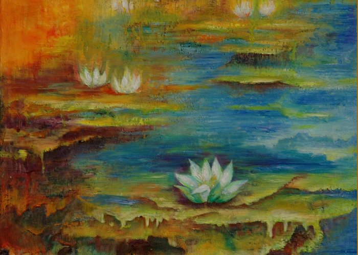 Water Greeting Card featuring the painting Water Lilies No 4. by Evgenia Davidov
