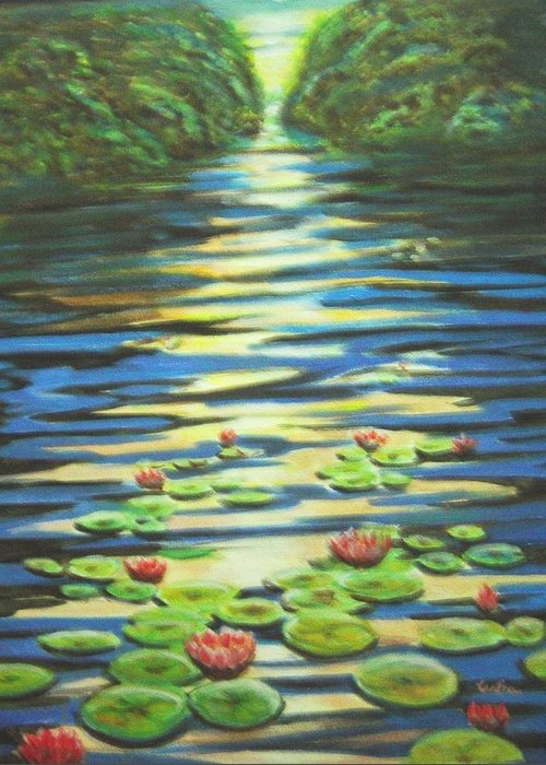 Dusk Greeting Card featuring the painting Water Lillies At Dusk by Usha Shantharam
