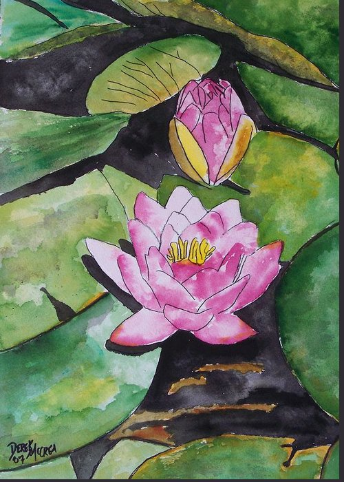 Water Lily Greeting Card featuring the painting Water Lily by Derek Mccrea