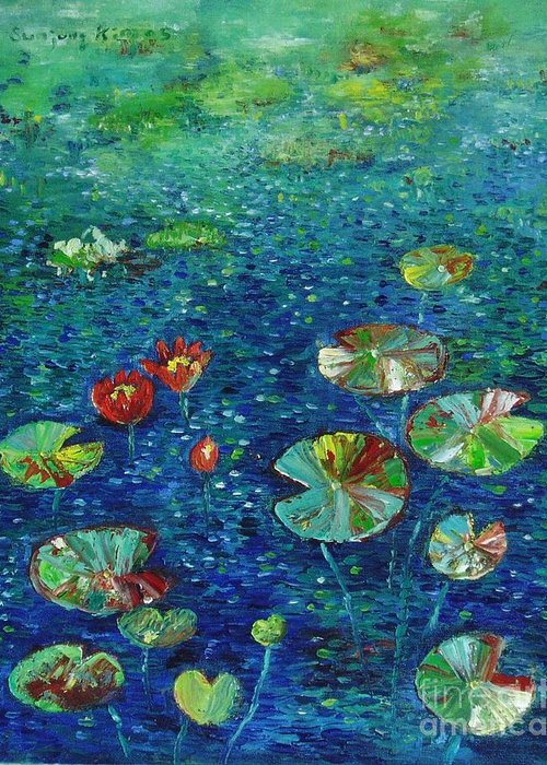 Lotus Paintings Greeting Card featuring the painting Water Lily Lotus Lily Pads Paintings by Seon-Jeong Kim